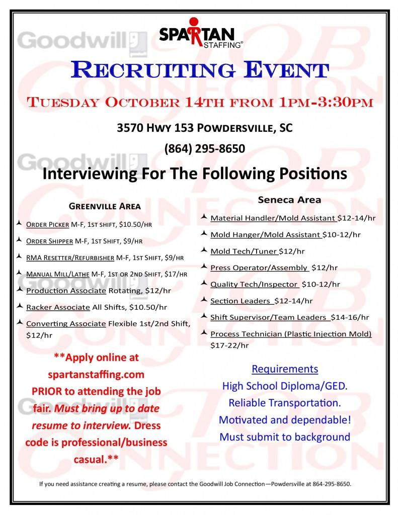 Spartan Staffing Recruiting Event Powdersville Sc
