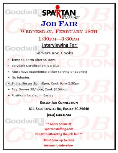 Goodwill Job Connections Job Fairs On Feb 18th 19th Powdersville Sc
