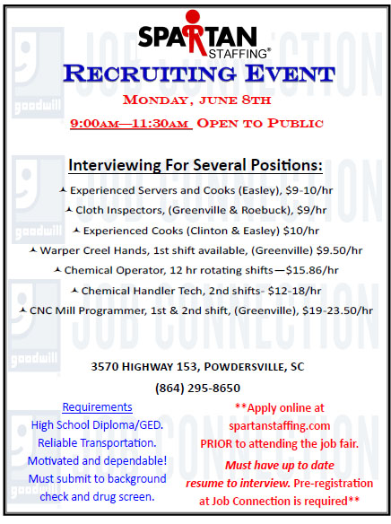 Goodwill To Host Job Fairs On June 8th15th And 16th Powdersville Sc