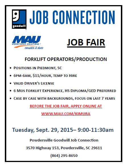 Mau And Spartan Staffing Job Fairs On Sept 29 Powdersville Sc