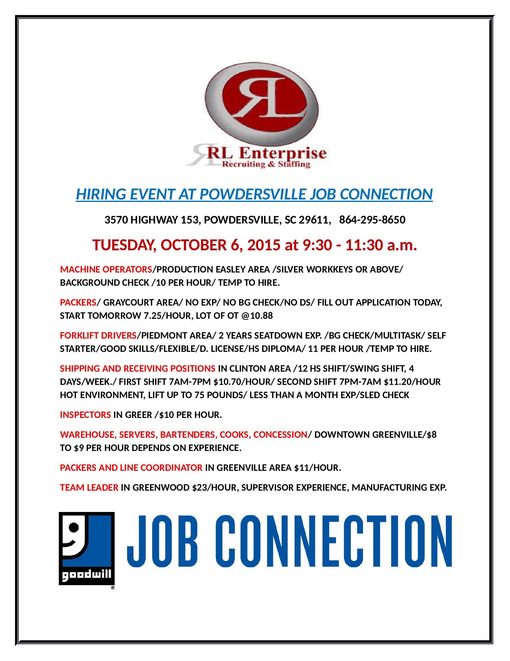 Upcoming Job Fairs At The Goodwill Job Connection Powdersville