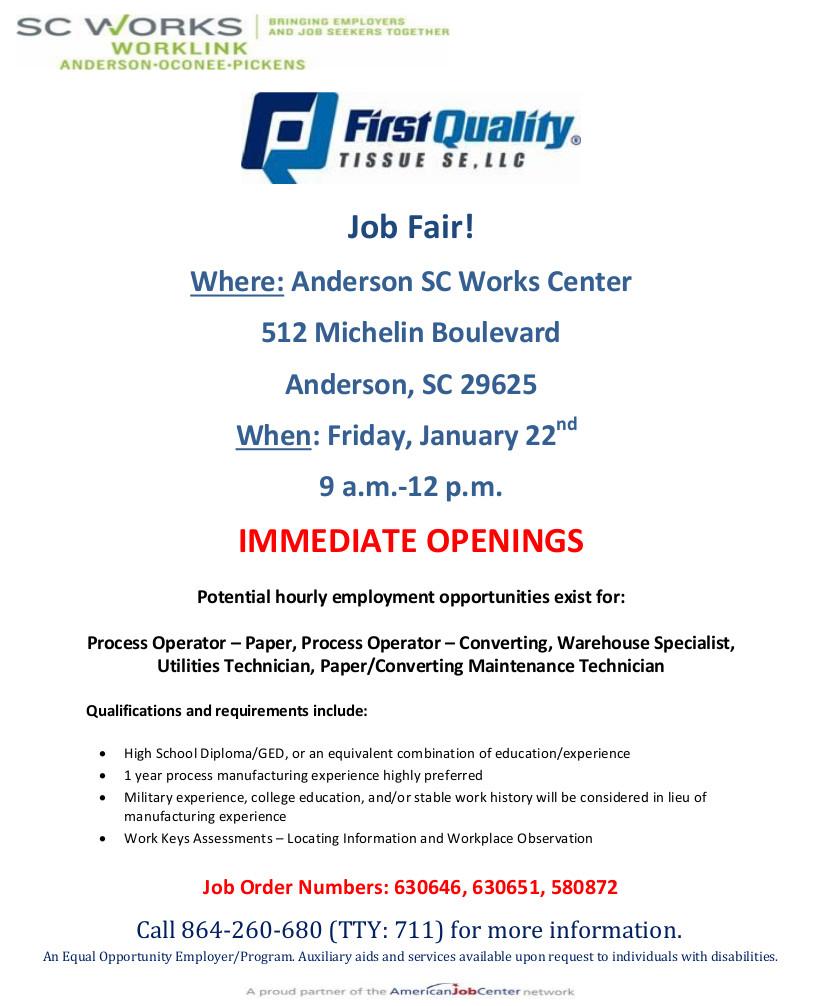 Anderson First Quality Job Fair 1-22-16