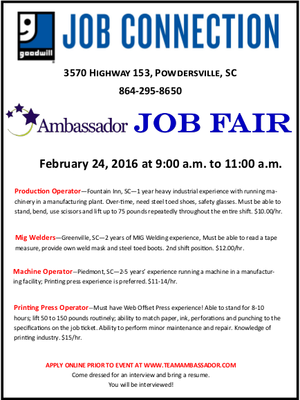 Download Ambassador Job flyer HERE