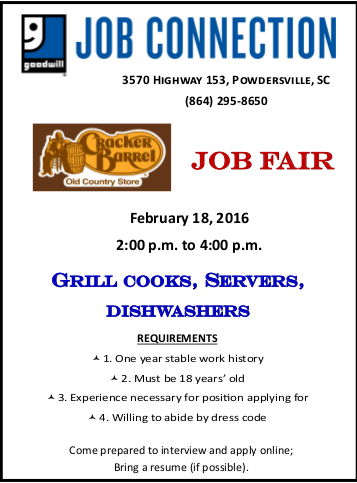 Cracker Barrel Job Fair Feb 18