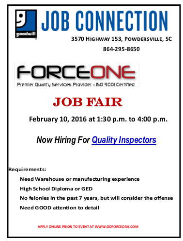 Force One Job Fair on Feb 10