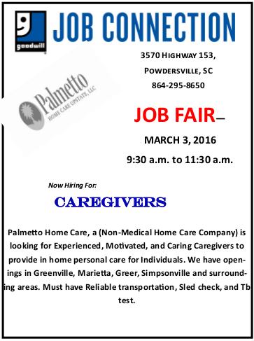 Palmetto Home Care Job Fair on Mar 3