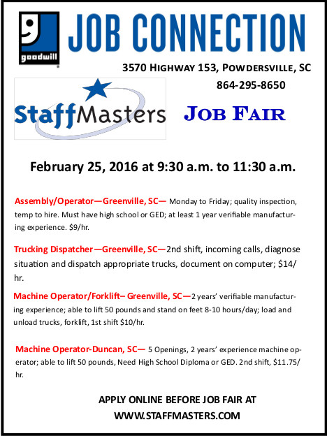 StaffMasters Job Fair on Feb 25