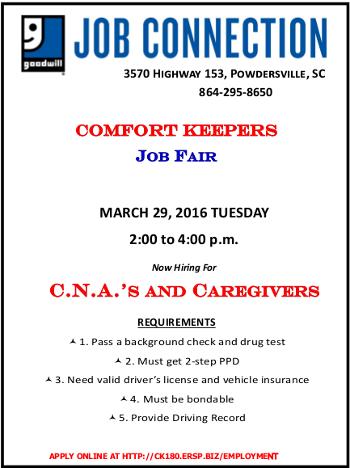 Comfort Keepers March 29 job fair