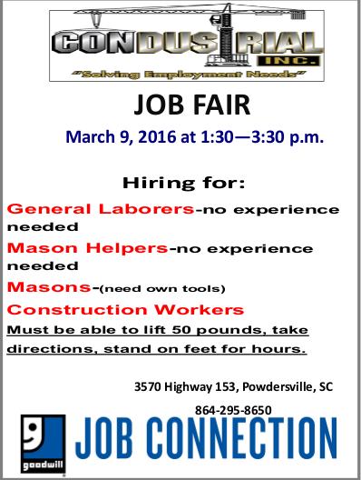 Condustrial Job Fair on March 9