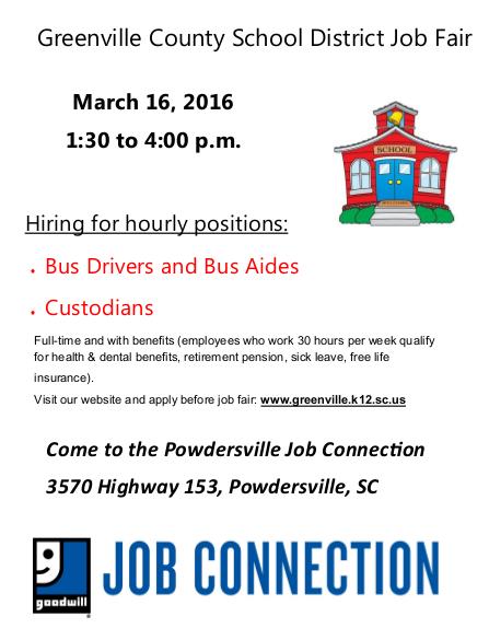 Greenville County School District Job Fair March 16