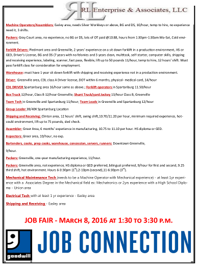 RL Enterprises Job Fair March 8
