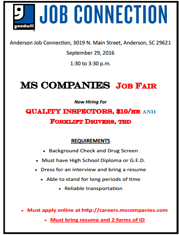 MS Companies Sept 9 Job Fair