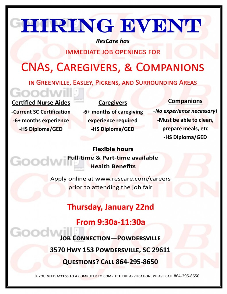 Rescare Job Fair January 22 2015 Powdersville Sc