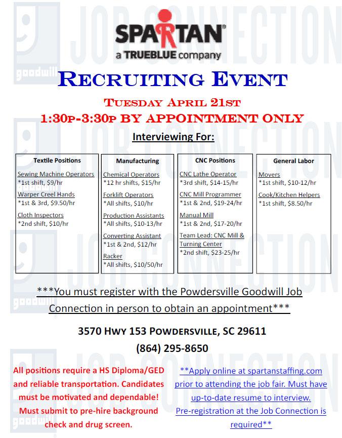 Spartan Staffing Recruiting Event On April 21st Powdersville Sc