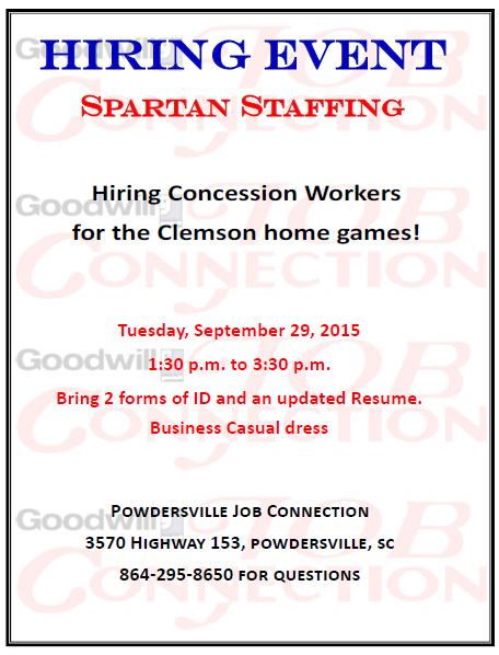 Spartan Staffing Hiring Event On Sept 29 Powdersville Sc