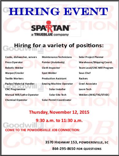 Spartan Staffing Job Fair On Nov 12 Powdersville Sc