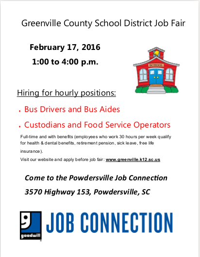 Goodwill Greenville Sc >> February Job Fairs - Powdersville SC