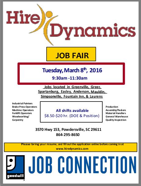 Goodwill Greenville Sc >> March Job Fairs - Powdersville SC